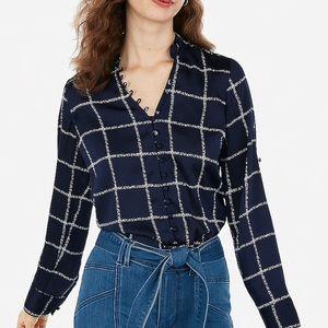 Slim fit ruffled collar satin fabric  shirt